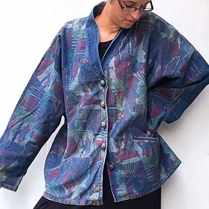 VINTAGE boho abstract oversized denim jacket